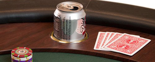 this is a drop-in cup holder in a poker table