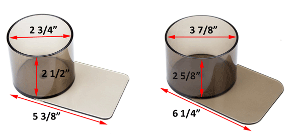 plastic cup holders are available in two sizes