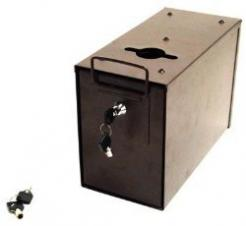 the  poker table toke/rake box measures 12in x 6in x 8in