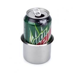 the small stainless steel cup holder will fit a 12oz can perfectly