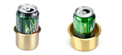 brass cup holders are used to hold you drinks at the table